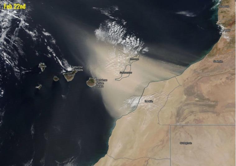 Forte tempesta di sabbia avvolge le isole Canarie