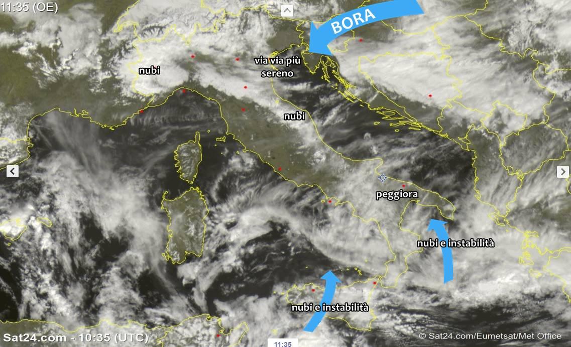 Tante nubi sull'Italia, perturbazione al sud. Si avvicina il freddo da est