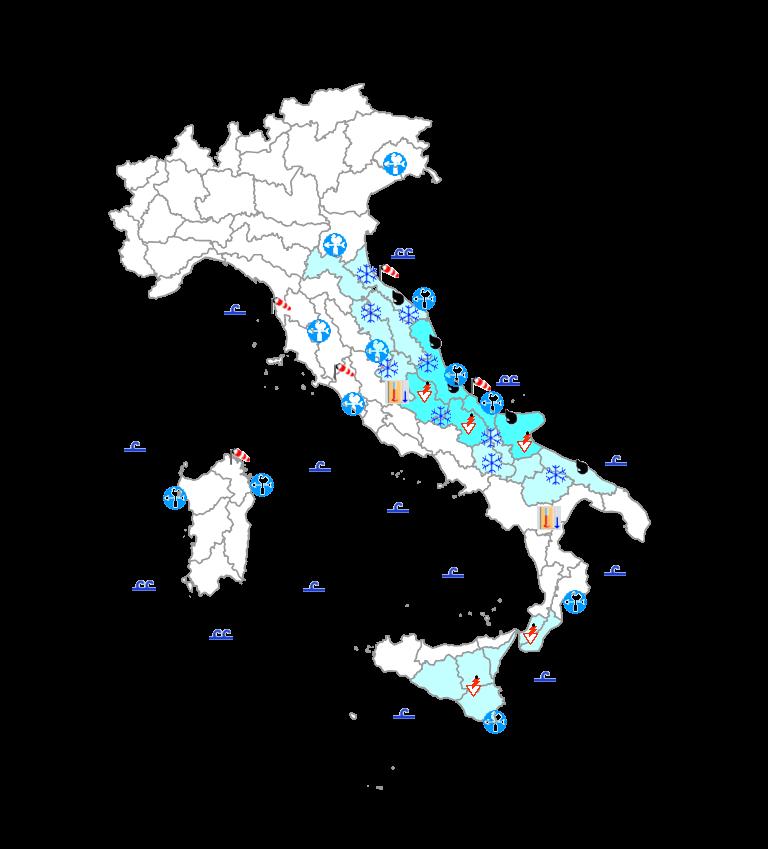 Protezione Civile: domani freddo intenso con nevicate fino in pianura su regioni adriatiche