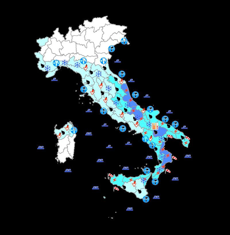 Allerta meteo della Protezione Civile: severa ondata di maltempo, domani nubifragi e venti forti su diversi settori