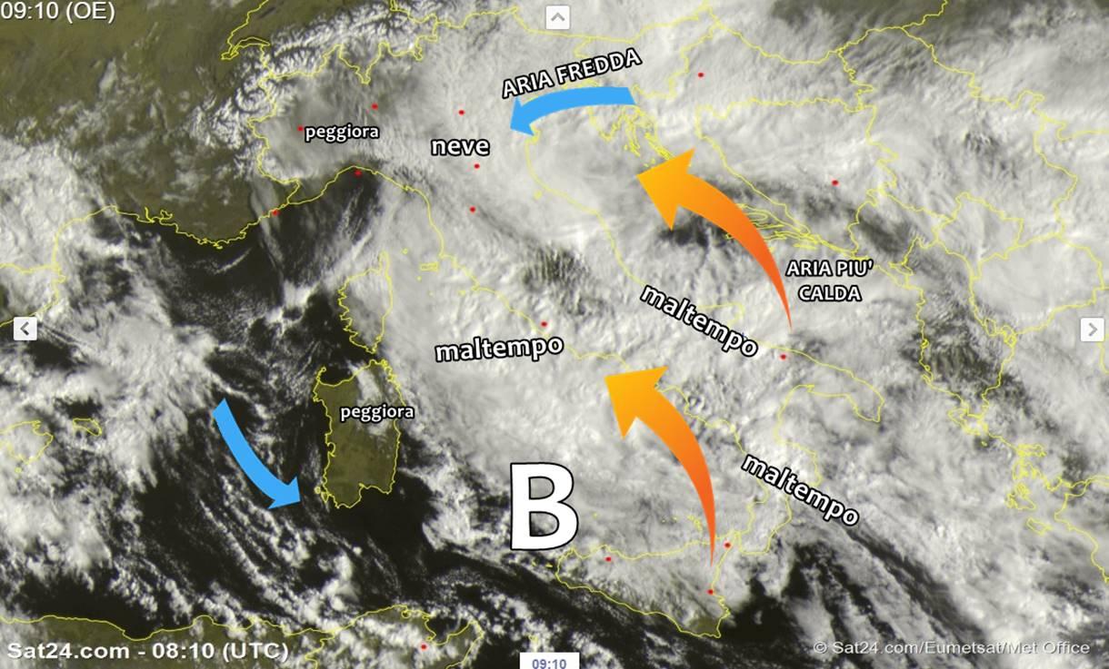 Vasta depressione sull'Italia: nubi, piogge e nevicate anche in pianura