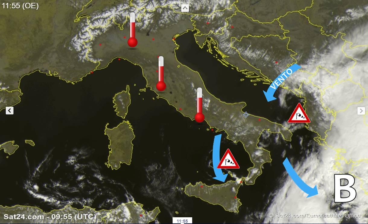 Si rinforza l'alta pressione al centro-nord. Ciclone nello Ionio, insiste il vento al sud!