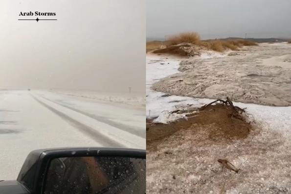 Un'alluvione lampo nel deserto Saudita: impressionanti fiumi di grandine scorrono sulla sabbia