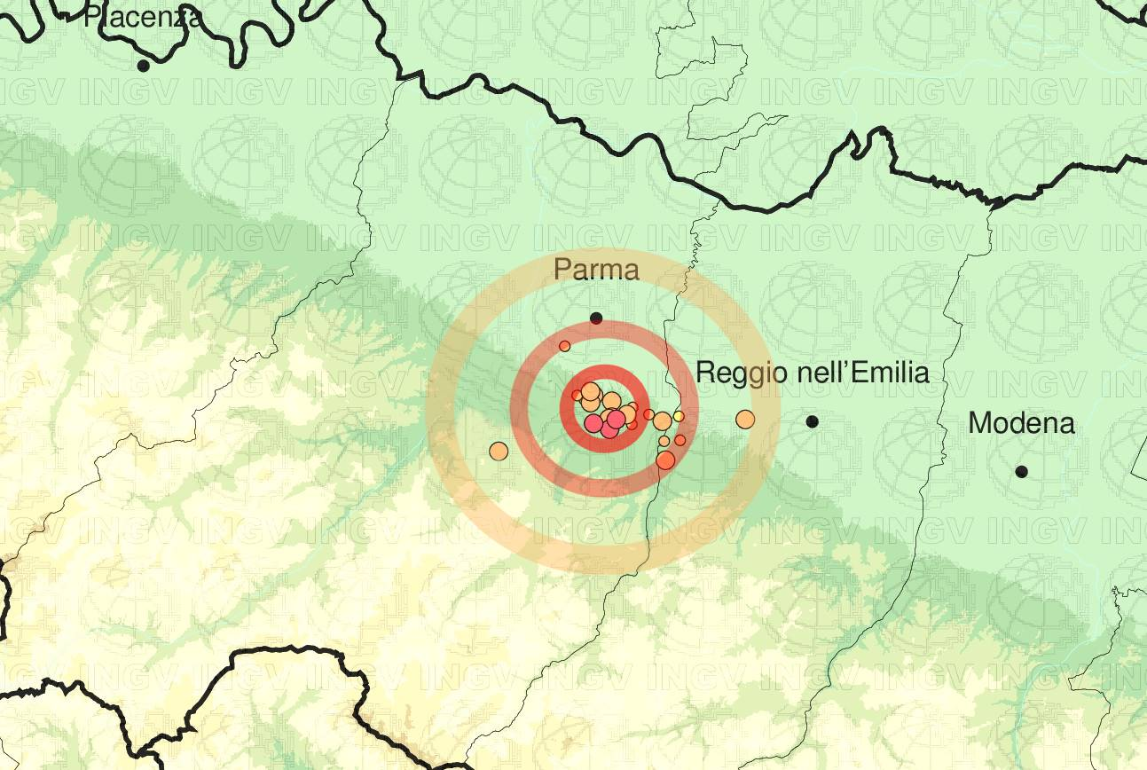 Emilia: sequenza di scosse di terremoto tra Parma e Reggio Emilia