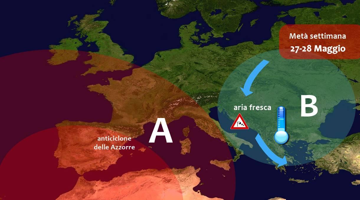 Italia tra alta pressione e correnti fresche da est: il caldo rimane lontano
