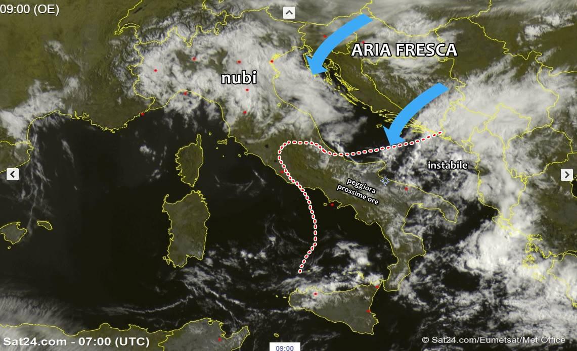 Meteo, domenica grigia e instabile: ancora temporali residui al sud