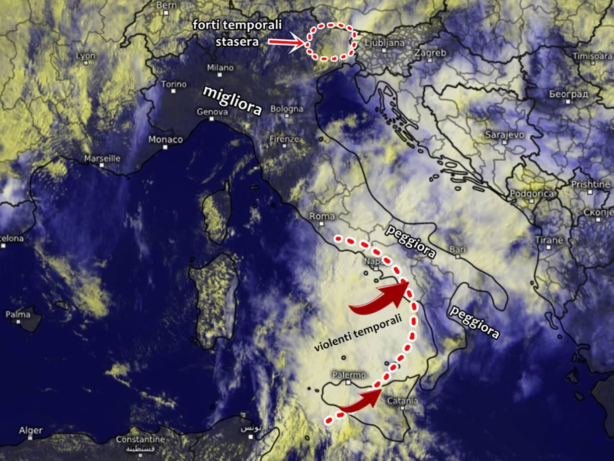 Il maltempo si sposta al sud, intensi temporali e nubifragi a breve