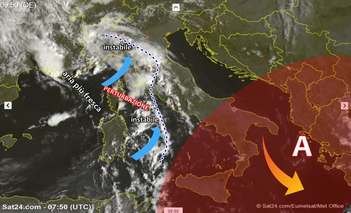 Irrompe aria più fresca: nubi in aumento e anche piogge su alcune zone italiane