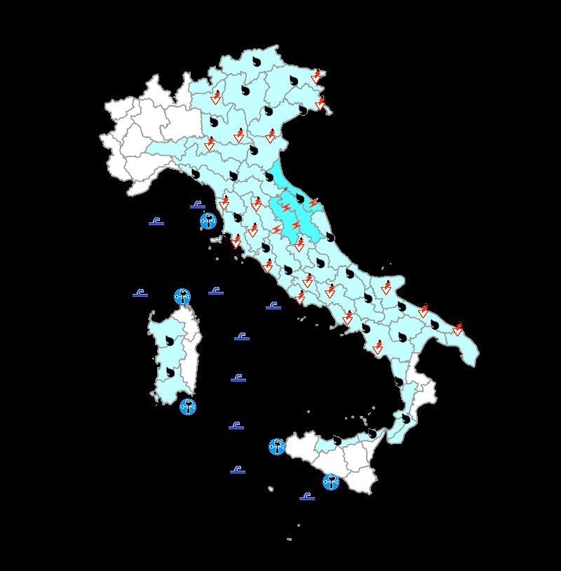 Protezione Civile domani 24 Ottobre: perturbazione sull'Italia con maltempo diffuso
