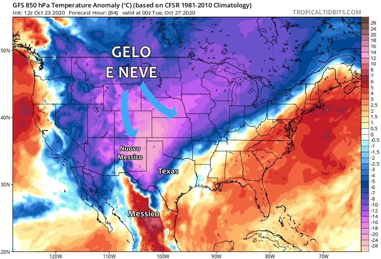 Gelo e neve negli USA: prossima settimana forti nevicate anche in Texas, freddo fino in Messico