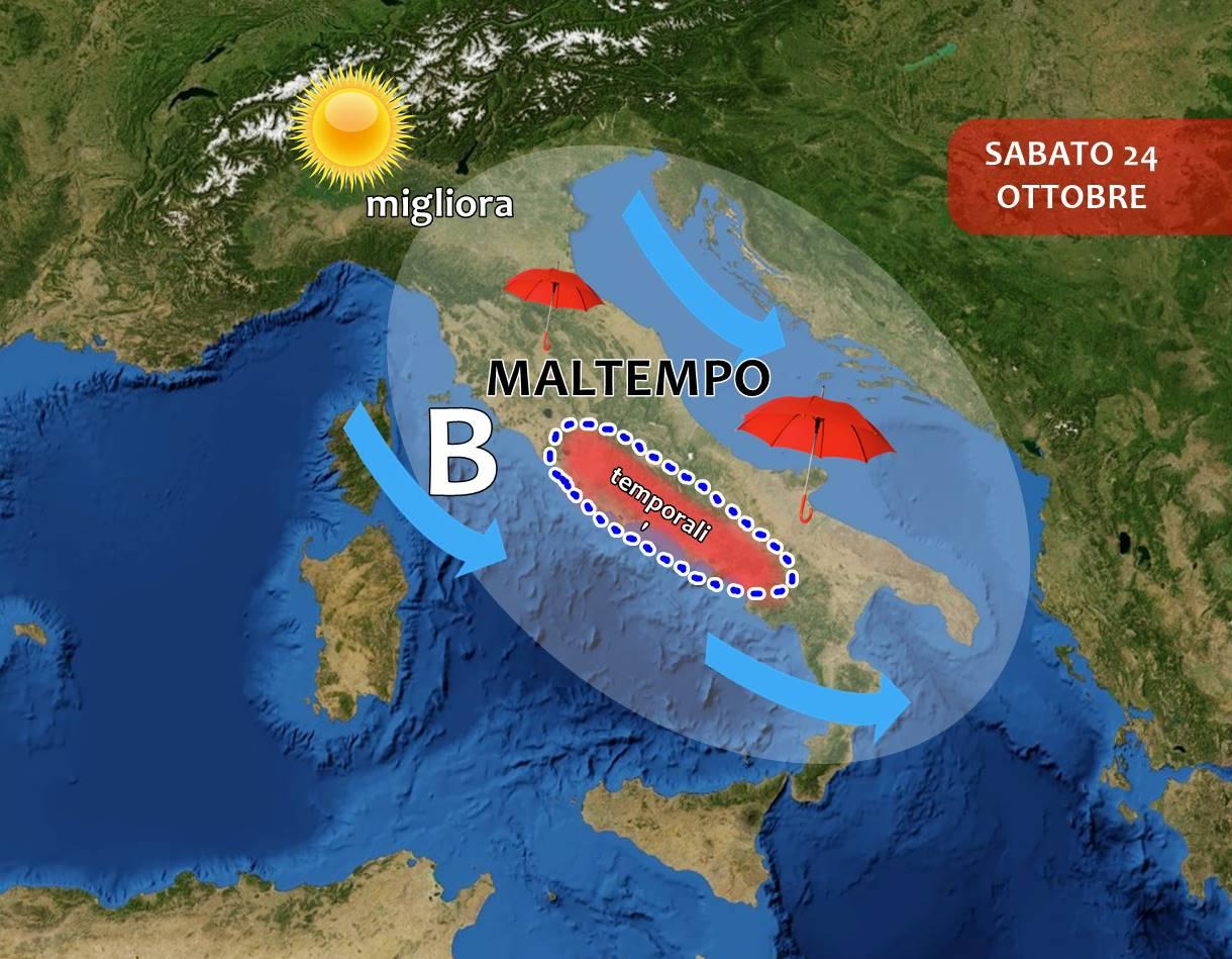 Maltempo: domani piogge e TEMPORALI sul centro-sud