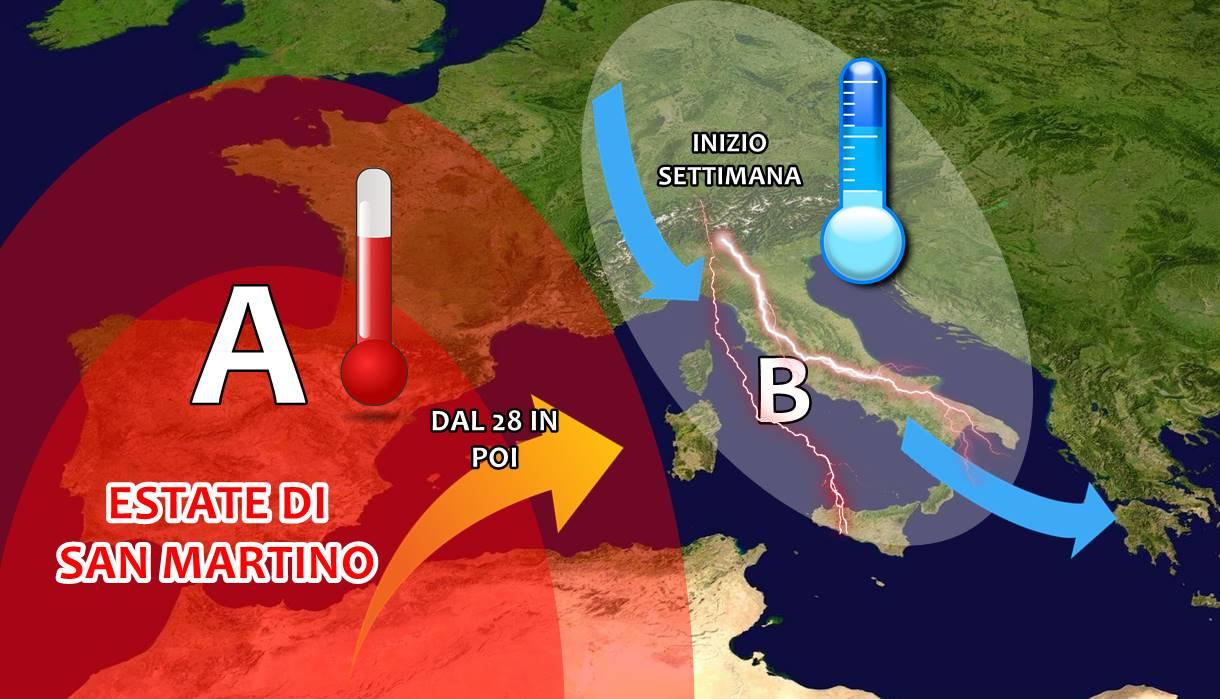 Tanta pioggia e temporali ad inizio settimana, poi scoppia l'estate di San Martino