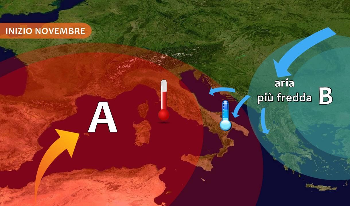 Forte anticiclone per fine ottobre e inizio novembre, più FREDDO al sud