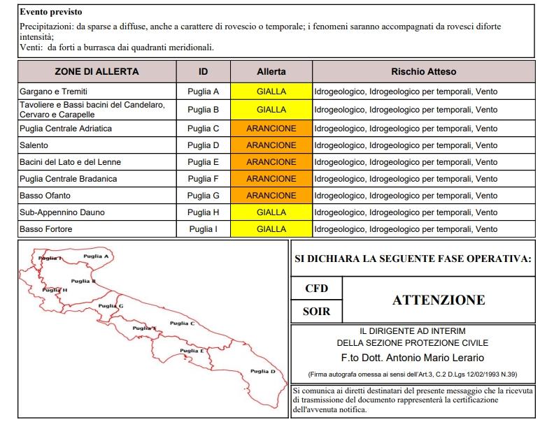Domenica di forte maltempo in Puglia: allerta arancione emessa dalla Protezione Civile
