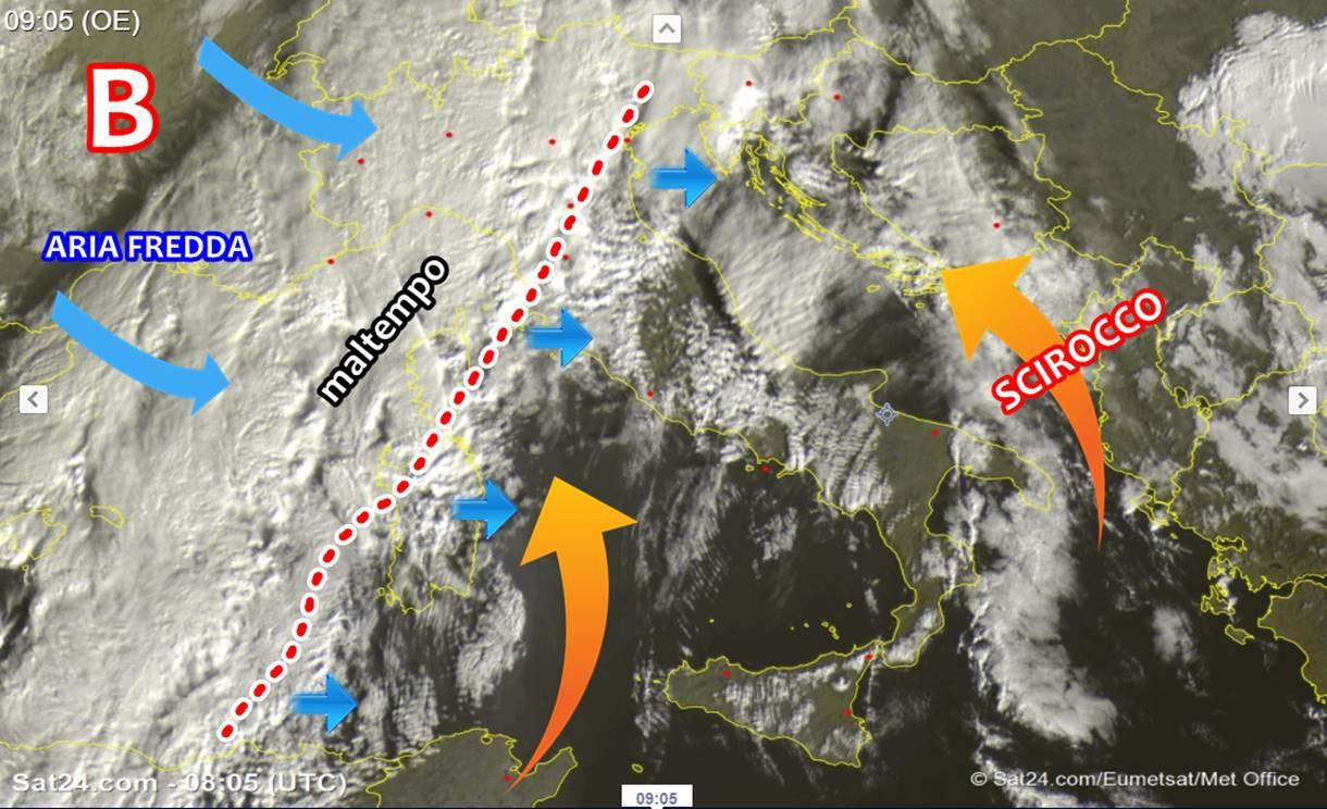 Enorme perturbazione sta avvolgendo l'Italia: oggi nubifragi e tanta neve