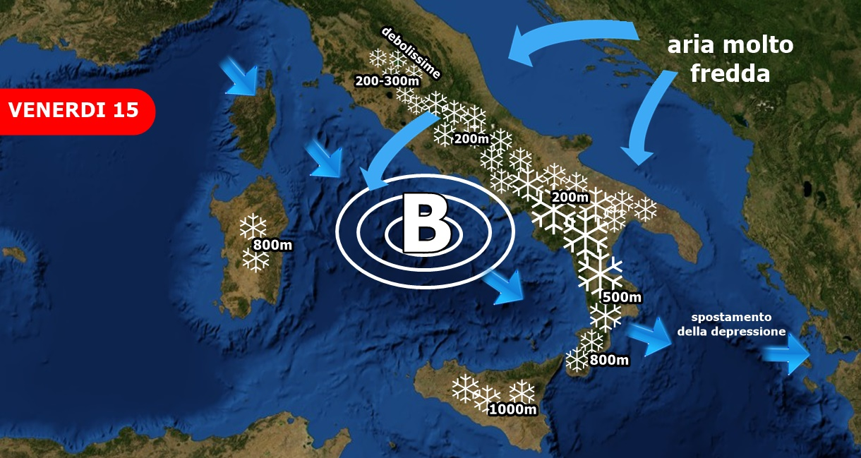Forti nevicate in arrivo su Campania, Basilicata e Calabria a bassissima quota