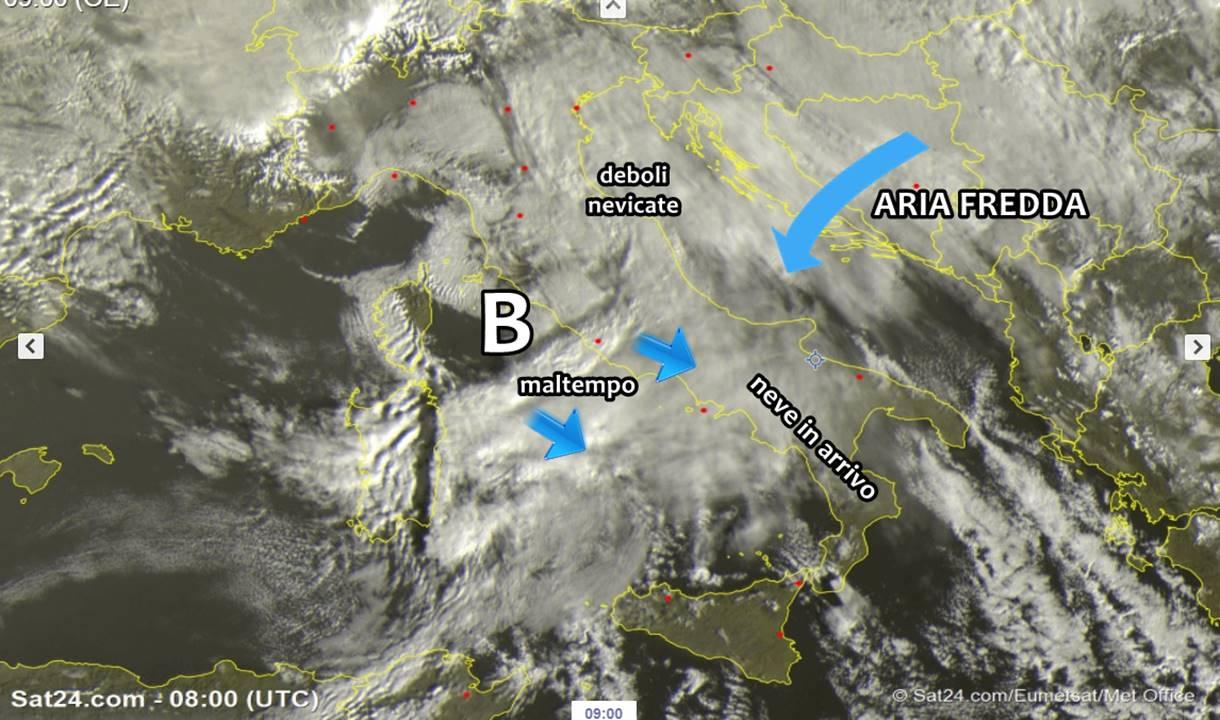 Meteo, depressione nel Tirreno: altro carico di neve a bassa quota oggi al sud