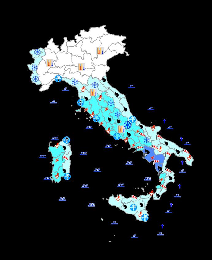 Meteo Protezione Civile domani 24 Gennaio: maltempo al centro-sud, specie regioni tirreniche