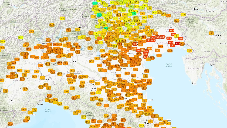 Caldo record sul nord-est, escursione termica di 27°C a Gorizia in 12 ore