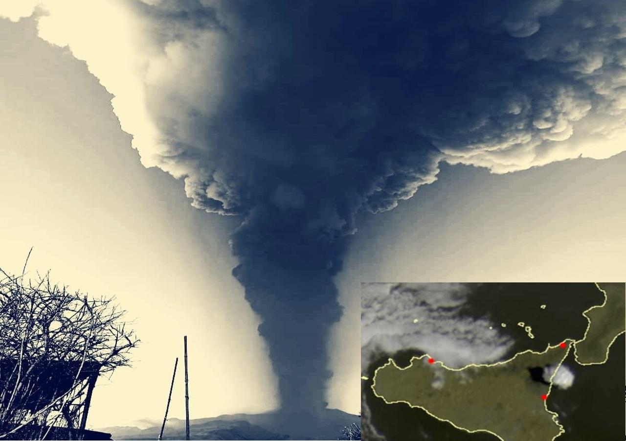 Eruzione dell'Etna: enorme colonna di fumo stamattina, pioggia di cenere nel catanese