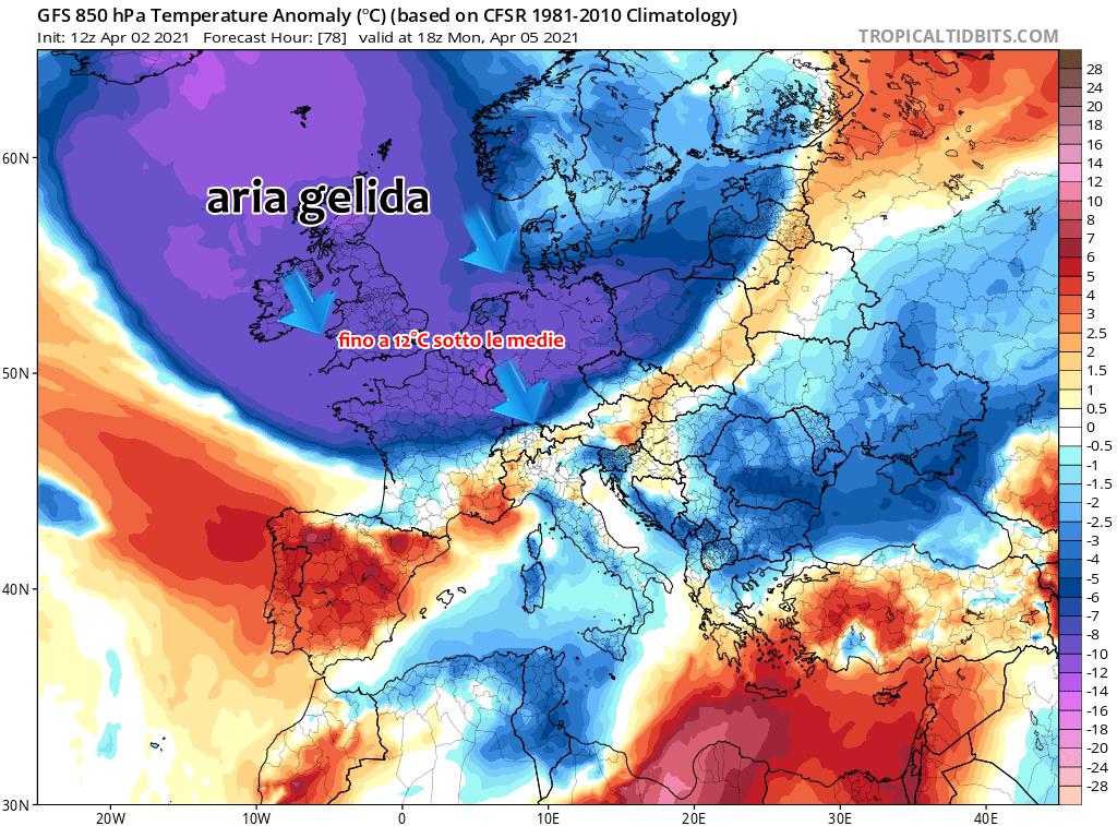 Fiume d'aria gelida artica verso l'Europa a Pasquetta, torna la neve a Londra, Parigi e Berlino