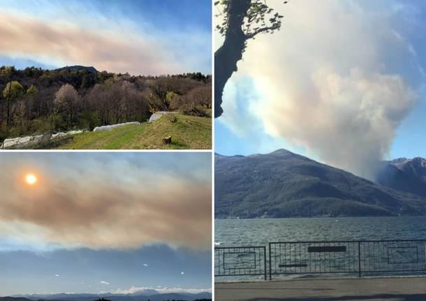 Vasto incendio in Piemonte, in valle Cannobina: colonna di fumo visibile dal satellite