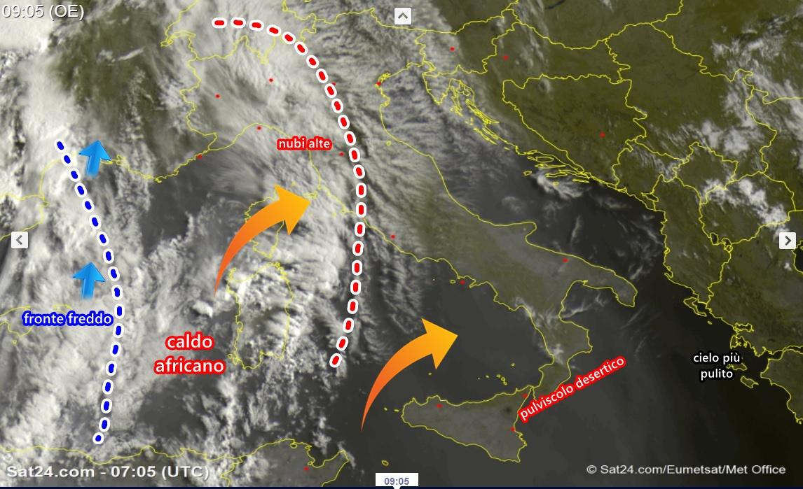 Previsioni meteo: al via il gran caldo, nubi e pulviscolo desertico nei cieli italiani, temporali in arrivo su 4 regioni