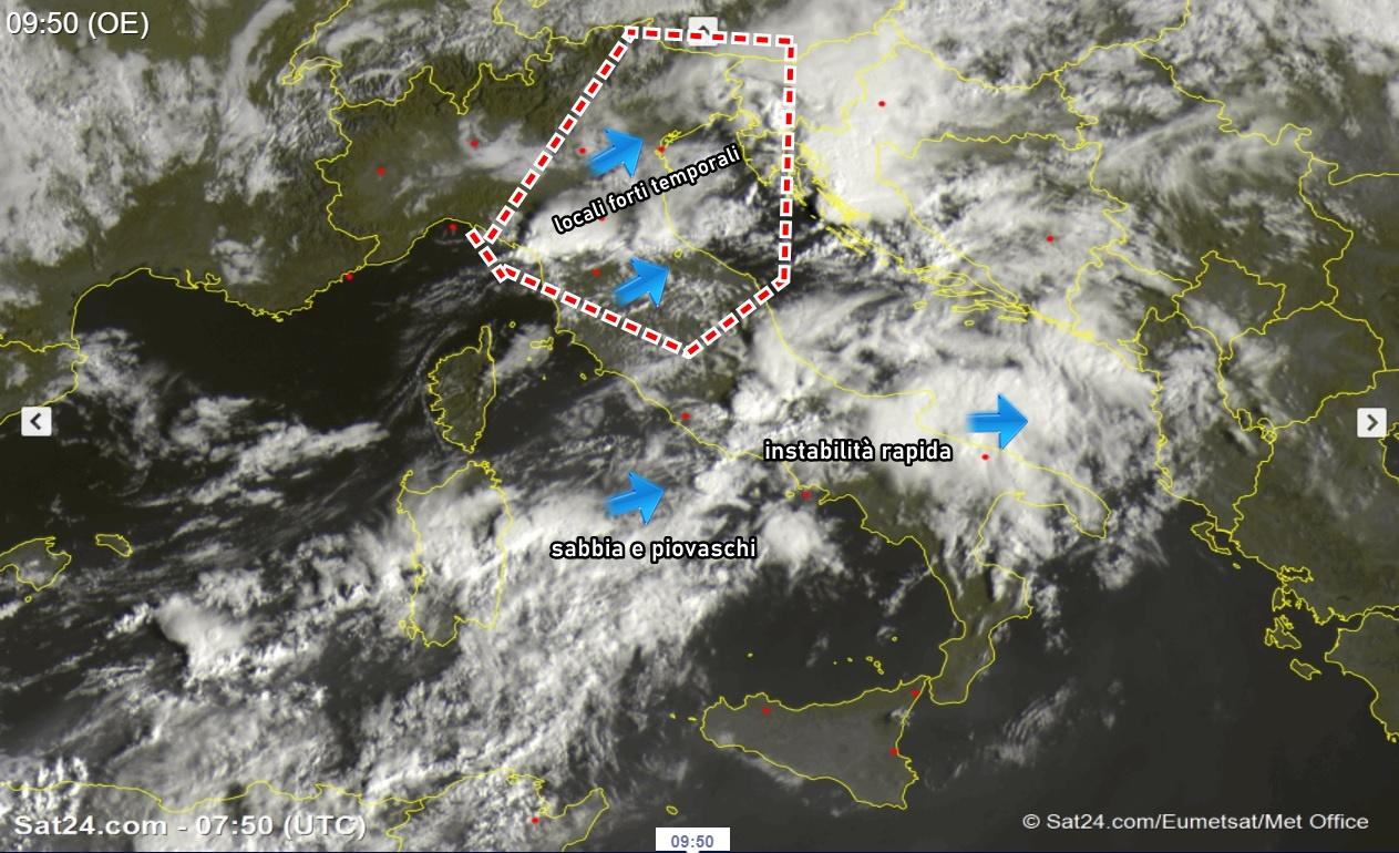 Meteo: tra acquazzoni, temporali e variabilità, continua il caldo al sud