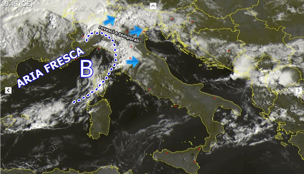 Meteo: rapida ma forte perturbazione al nord, domenica estiva al sud