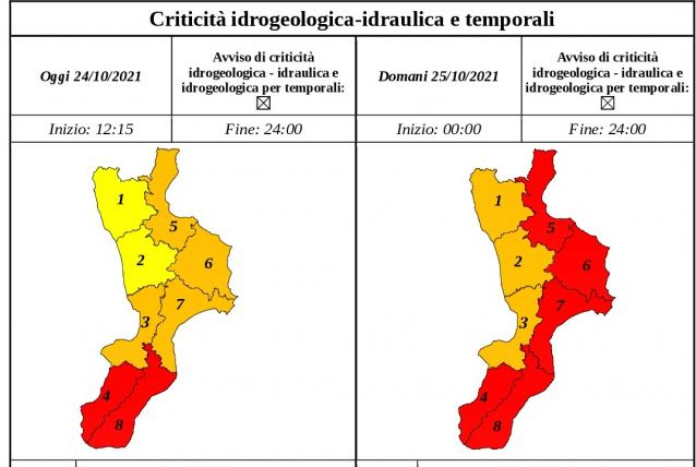 Allerta nubifragi per Lunedì 25 Ottobre: scuole chiuse in molti comuni di Calabria e Sicilia